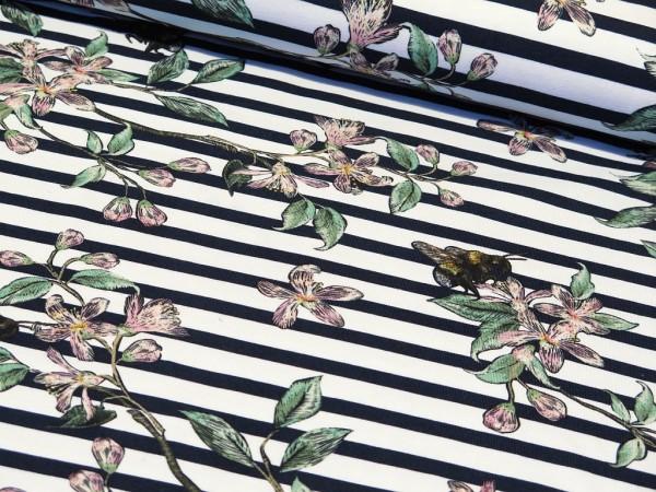 """Baumwolljersey """"Stripes,Flowers & Bienen"""" dunkelblau"""