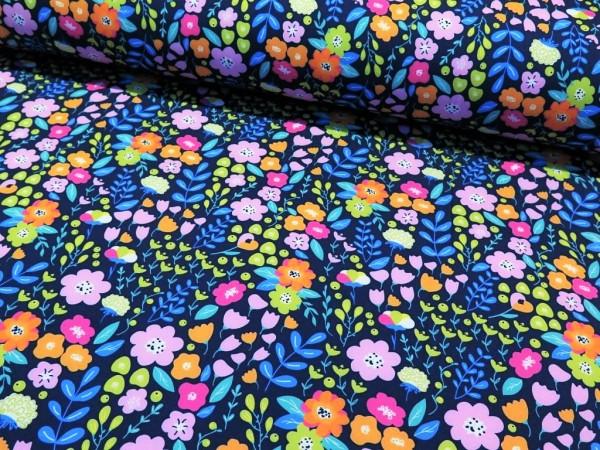 """Softshell """"Blumen"""" dunkelblau"""