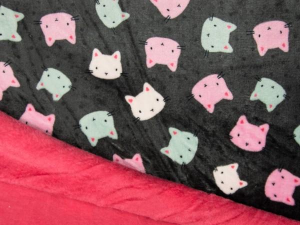 "Wellnessfleece Double ""Katzen"" grau/pink"