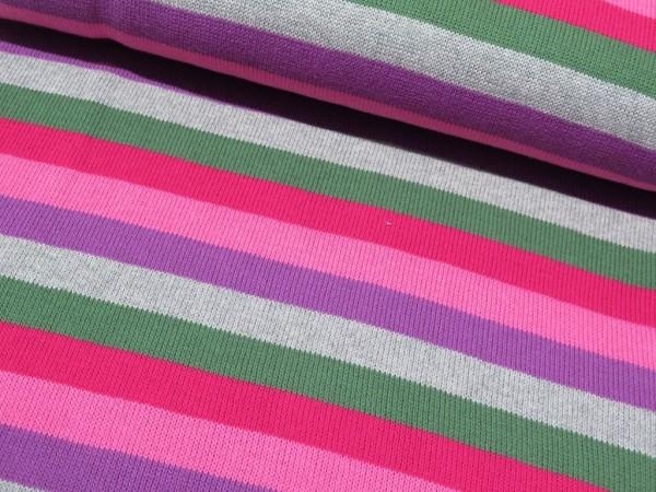 "Baumwollstrick ""Streif"" rosa/lila/grau/grün"