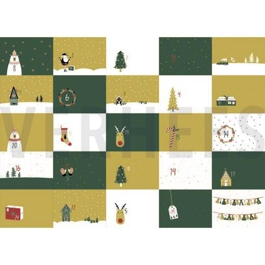 """Baumwollstoff """"Adventkalender"""" grün/ocker"""