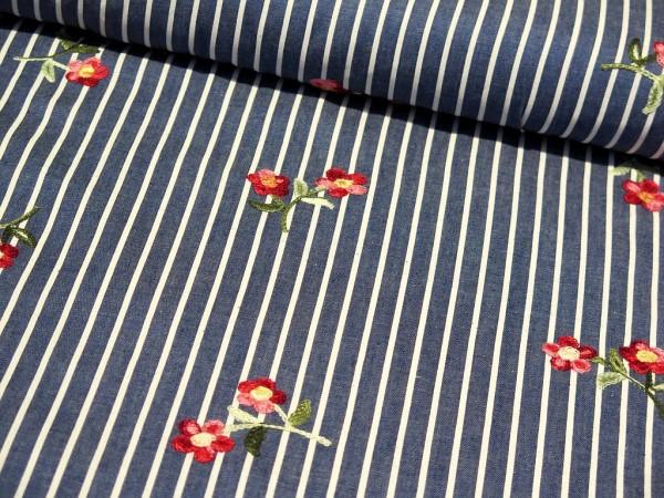 "Bestickter Jean ""Flower Stripes"""