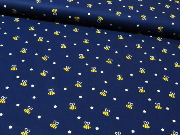 """Baumwollstoff """"Bienen"""" dunkelblau"""