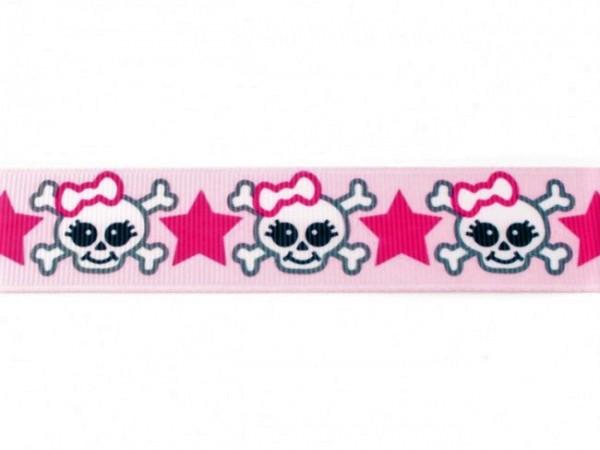 "Ripsband ""Totenkopf-Skull"" rosa"