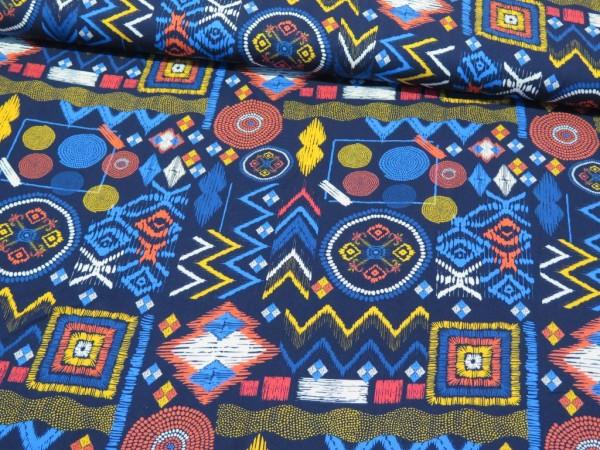 """Viskose """"Afrika"""" blau/koralle"""