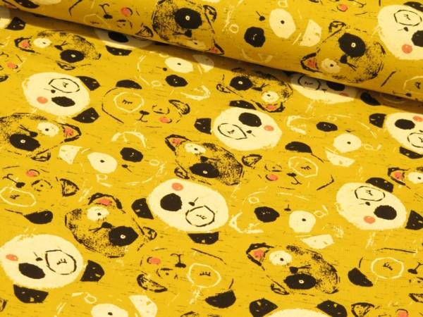 """Baumwolljersey """"Wiking Panda"""" gelb"""