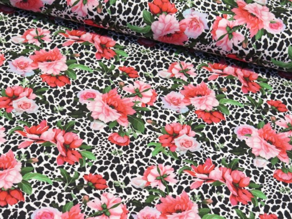 "Baumwolljersey ""Hawai Flower Leo Print"""