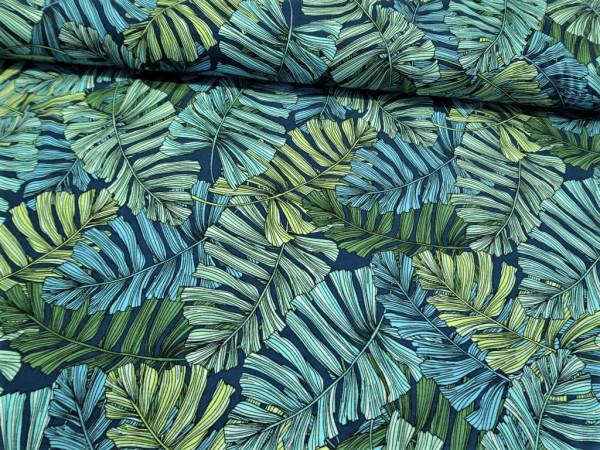 """Viskosejersey """"leafs"""" blau-grün"""