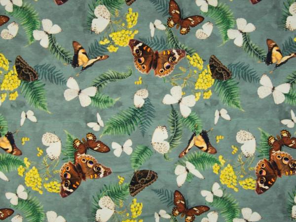 """Baumwolljersey """"Schmetterlinge"""" grün"""
