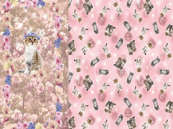 """Baumwolljersey Panel """"Katzen"""" rosa"""