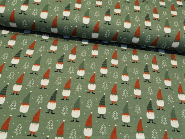 """Baumwolljersey """"Weihnachtswichtel"""" grün"""