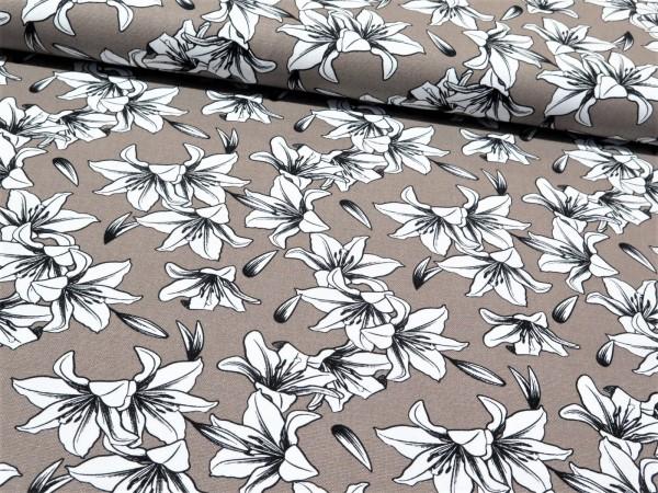 """Canvas """"Blumen"""" taupe"""