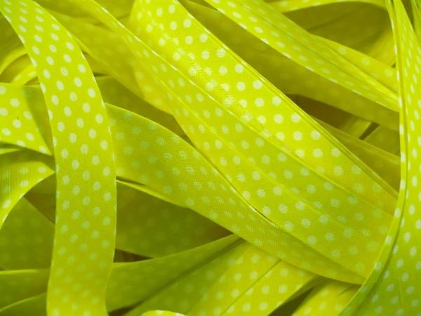 """Baumwoll-Schrägband Dots """"gelb"""" 20mm"""