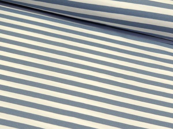 """Baumwolljersey """"Stripes"""" jeans/weiss"""