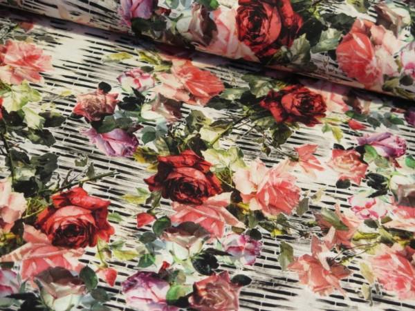 """Viskosejersey """"Roses&Stripes"""""""