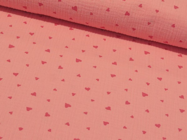 """Musselin """"Herzen"""" rosa"""