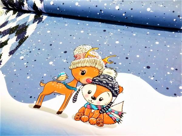 """Sommersweat Panel """"cuties in the snow"""" blau"""