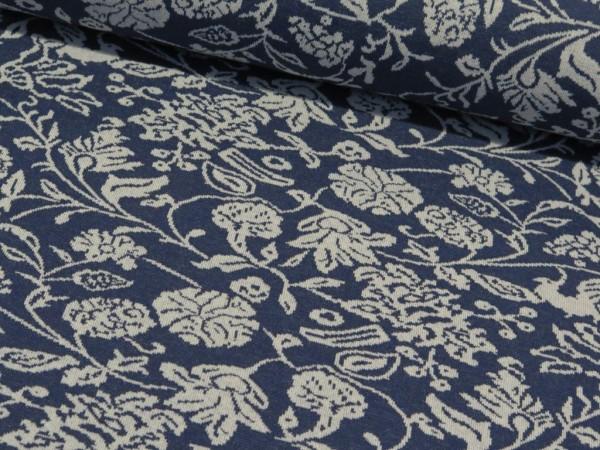 "Jacquardjersey 100% Recycelt ""Flower"" jeansblau"