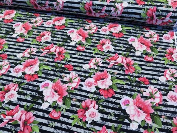 """Kuschelsweat """"Streifen&Rosen"""" schwarz/grau/pink"""