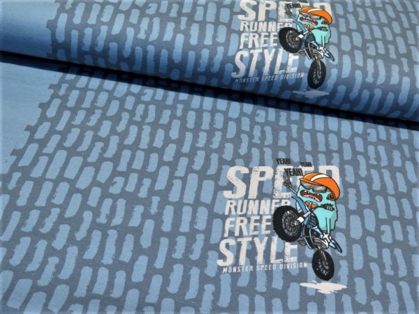 "Sommersweat Panel ""Monster Stripe"" rauchblau"
