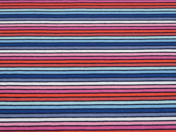 """Baumwolljersey """"Streifen"""" navy-pink-orange"""