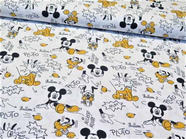 """Baumwollstoff """"Mickey Mouse"""" schwarz/gelb/weiss"""