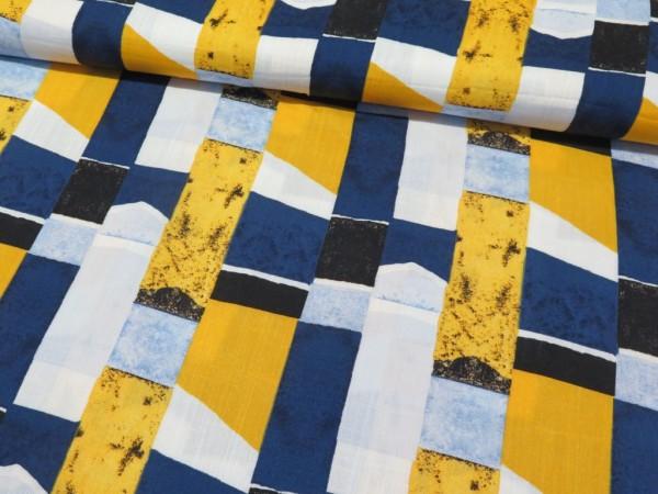 "elastische Viskose in Leinenoptik ""Rechtecke"" blau/gelb"
