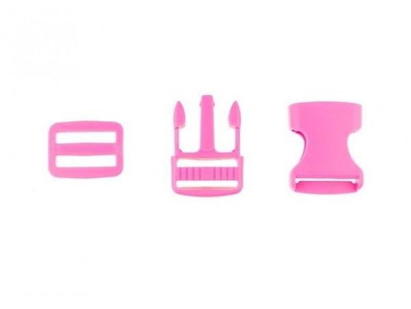 """Steckschnalle + Gurtschieber 25mm """"pink"""""""