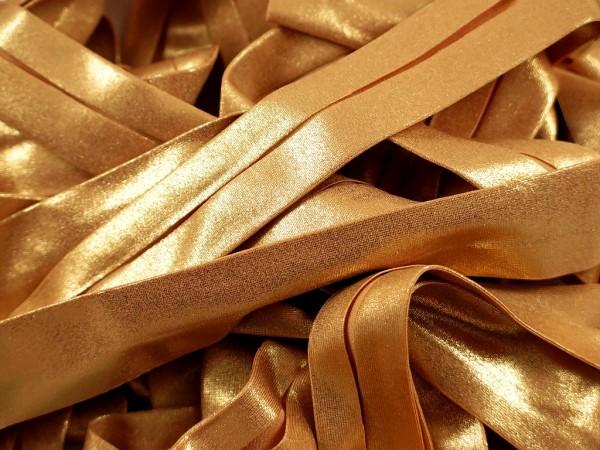 """Jersey Glitzer Schrägband """"gold"""" 20mm"""