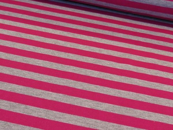 """Kuschelsweat """"Streifen"""" pink-hellgrau"""