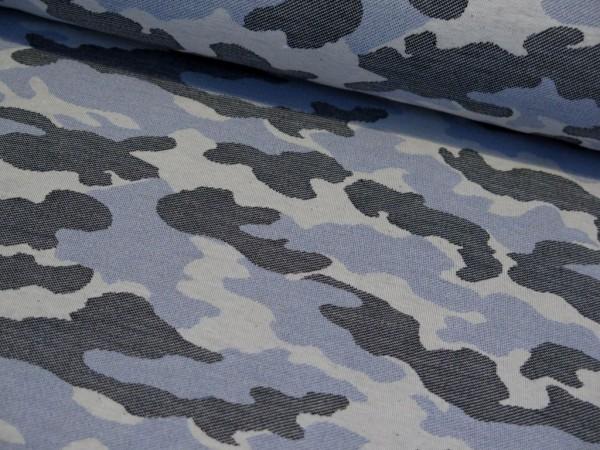 "Jogging Jacquard Kuschelsweat ""Camouflage"" blau"