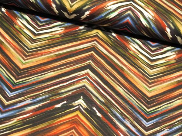 """Baumwolljersey Digital Print """"Painted ZickZack"""" rost"""