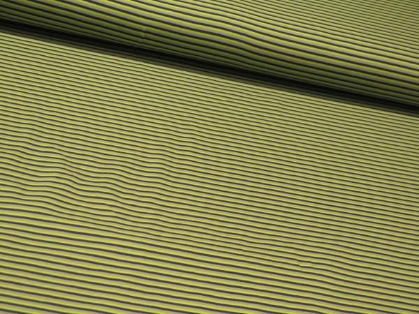 "Baumwolljersey ""Stripes"" grau-grün"