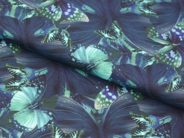 """Baumwolljersey """"Schmetterling"""" blau"""