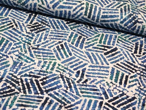 "Baumwollstoff Batik ""Ecken"" blau"