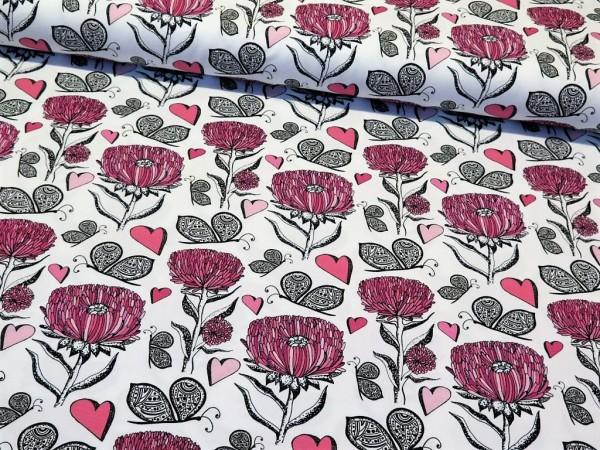 """Baumwolljersey """"Blume&Schmetterling"""" pink/schwarz/weiss"""