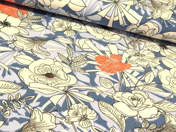 """Baumwolljersey """"Flower"""" jeans/lachs"""