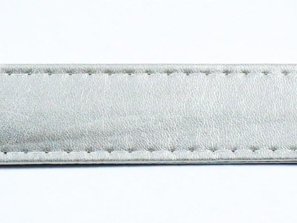 "Kunstleder Gurtband ""silber"" 25mm"