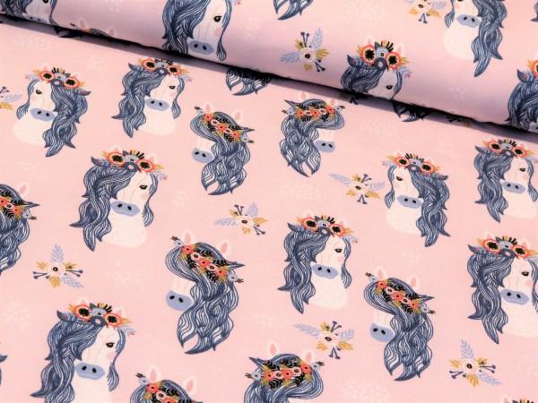 """Baumwolljersey """"Boho Horse"""" rosa"""