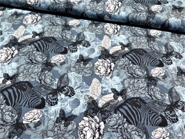 """Baumwolljersey """"Zebra-Blumen"""" jeansblau"""