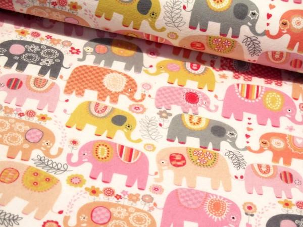 "Baumwollflanell ""Happy Elephants"" rosa/grau Michael Miller"