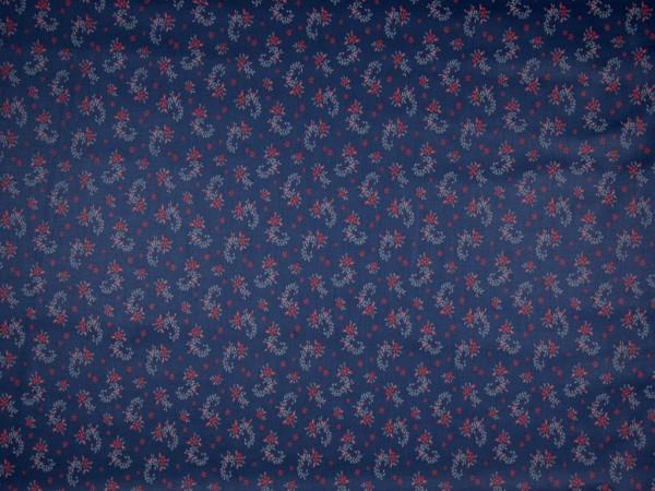"""Satinierte Webware """"Blumen"""" blau/rot"""