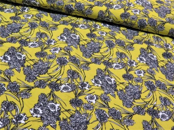 """Viskose """"Blumen"""" Gelb"""