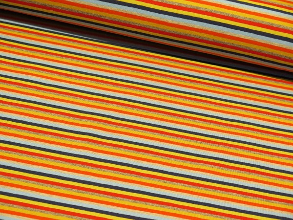 "Baumwolljersey ""Multi Streifen"" navy/hellblau/orange"