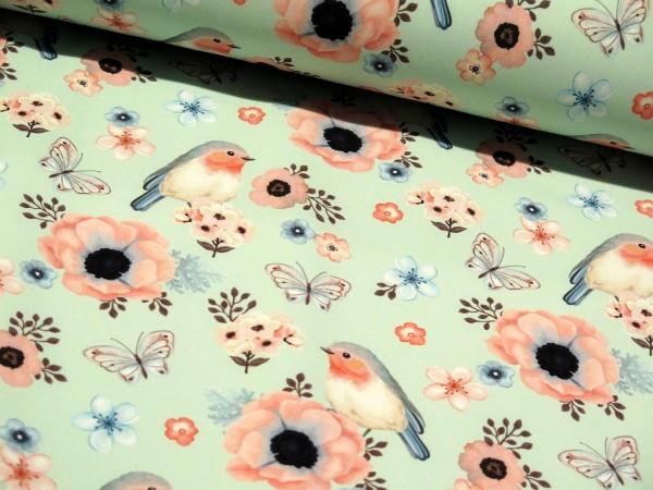 "Softshell FVJ ""Birds"" mint/rosa"