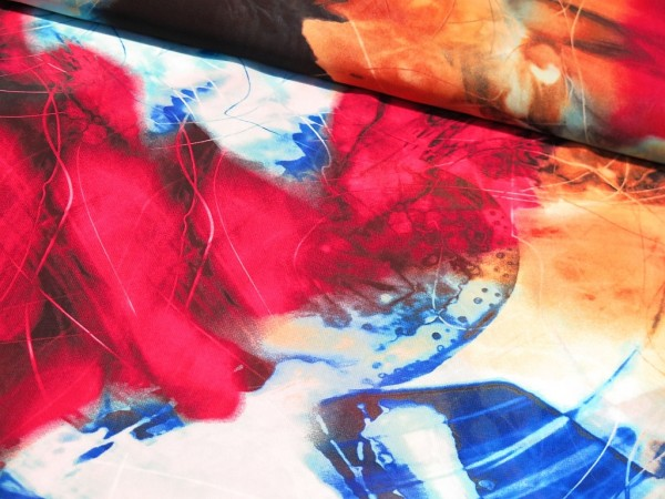 "Chiffon ""Digi Print"" magenta/blau"