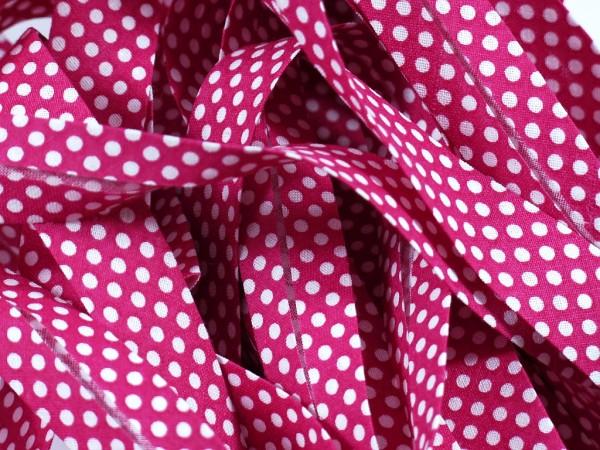 "Baumwoll-Schrägband Dots ""pink"" 20mm"