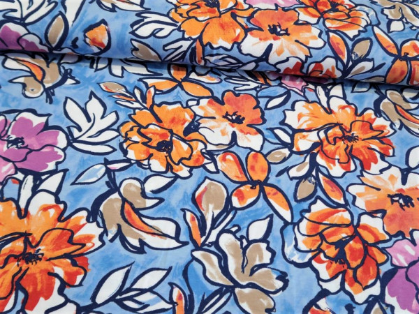 "Viskosejersey ""flower-watercolour"" blau-orange"