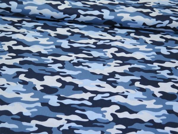 "Baumwollstoff ""Camouflage"" blau"