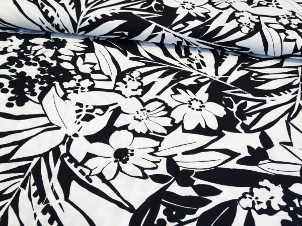 """Viskosejersey """"plants"""" schwarz-weiß"""